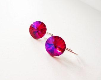 Hot pink rivoli earrings. Fuchsia rivoli earrings. Hot pink crystal earrings. Fuchsia crystal earrings. Sterling silver crystal.