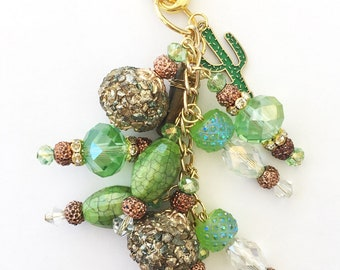 Green and Gold Cactus Chunky Planner Charm - Planner Accessories, Purse Charm, Zipper Pull, Chunky Travelers Notebook Charm