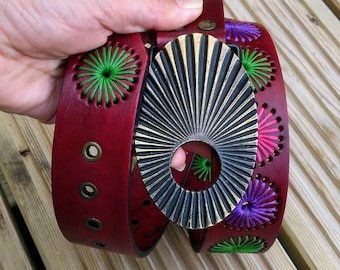 Leather Belt, Gift for Her, Handmade, Hand Stitched, Hand Dyed and Waxed, Dark Pink