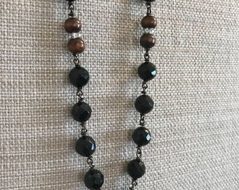 Black Onyx and Wood Necklace