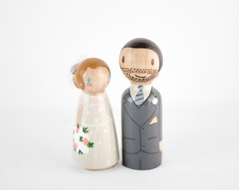 Peg Dolls Topper - rustic wedding cake topper - wooden peg figurines - peg people cake topper - bride and groom cake topper - custom pegs
