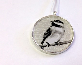 Ornament - Fauna Collection - Chickadee  (Packaged) - Original artwork with Holiday themed background
