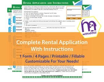 Printable Editable Fillable Customize PDF Rental Lease Application Form
