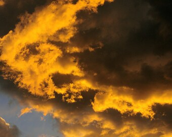Sunset clouds photo, Colorado sky print, sky on fire art, clouds photo, sunset art print, abstract wall art, weather sky photo, vibrant art