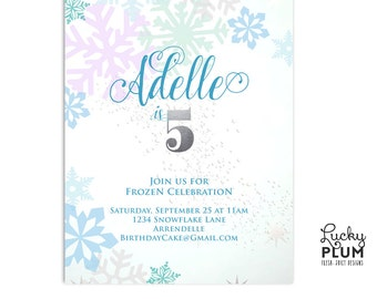 Frozen Birthday Invitation / Anna and Elsa Invite / Snowflake Silver Invite / Winter Wonderland Invite / First Birthday Invite / Digital
