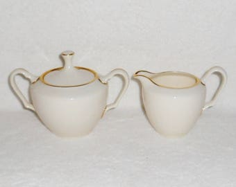Lenox Mansfield Pattern Sugar Bowl and Creamer ~ Gold Rimmed Ivory China