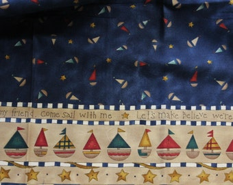 "K.P. Kids and co Come Sail With Me by Kari Pearson 100% cotton fabric  22""x16"" remnant by SSI"