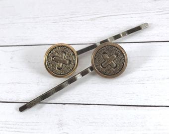 Metal Button Bobby Pins, Bronze Bobby Pins, Button Hair Pins, Antique Style Hair Pins