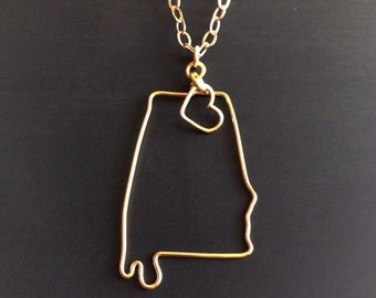 Alabama Necklace - Alabama State Necklace - State Outline - State Jewelry - Personalized Necklace - Bama Necklace