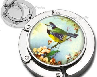 Beautiful Bird Foldable Purse Hook Bag Hanger With Lipstick Compact Mirror