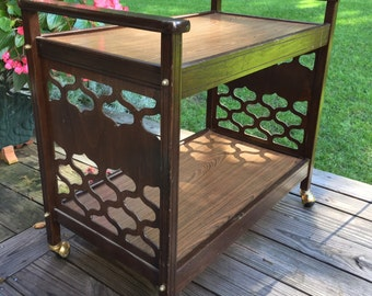 Mid Century Bar Cart on Casters / Vintage Bar Cart / Two Tier Bar Cart