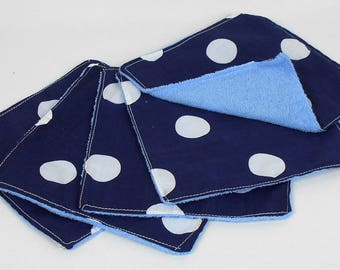 Navy Polka Dot Washable Baby Wipes