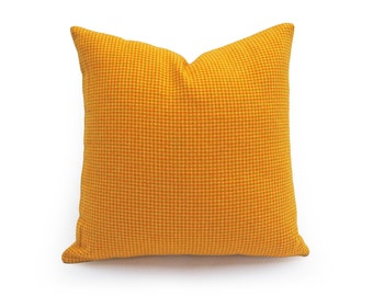 Vibrant Orange Yellow Pillow, Orange Houndstooth Pillows, Unique Girls Dorm Pillow, Orange Plaid Cushion Covers, Pillow Throw Decor 16x16