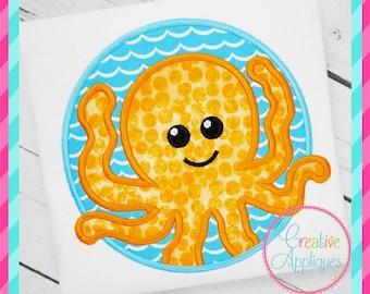 Octopus Digital Machine Embroidery Applique Design 4 Sizes, octopus applique, octopus embroidery, squid applique, squid embroidery