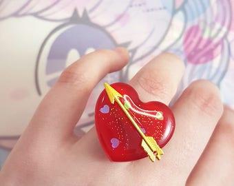 Red Valentine Heart Ring