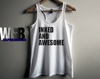 Inked and Awesome womans tank top white