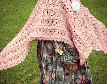Download Now - CROCHET PATTERN Rosette Blanket Shawl - Toddler to Adult - Pattern PDF