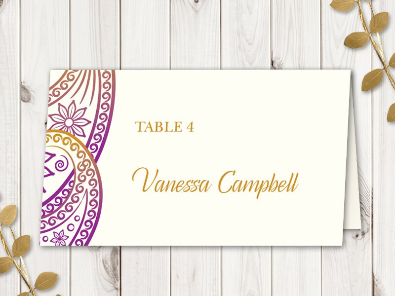 Purple Indian Wedding Invitations: Wedding Place Card Template Paisley Purple And