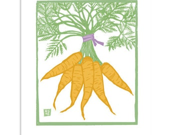 ART514: Bunch of Carrots - Block Print Art Reproduction
