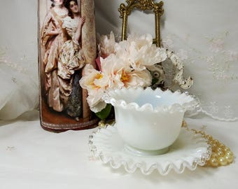 Vintage 1942 - 1986, Mayonnaise Bowl and Underplate, Pattern Silver Crest by Fenton