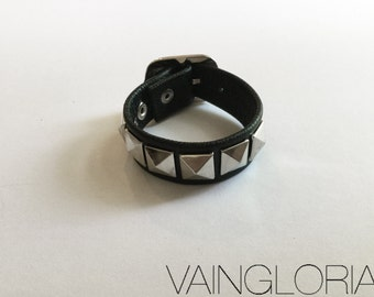 The ANGST Cuff - Black Leather Cuff Bracelet, Leather Wristband, Studded, Pyramid Studs: Nugoth, Punk Rock, 80's, 90's, Biker