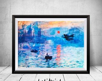 Harry Potter Print, Hogwarts Painting, Watercolor Painting, Claude Monet Sunrise Inspired, Hogwarts Print, Printable Art, Nursery Decor, Art