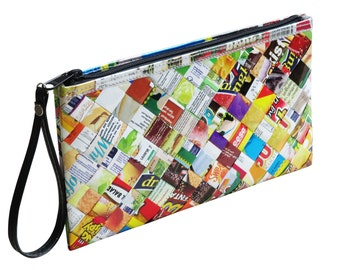 Large zip wristlet candy wrappers, FREE SHIPPING, clutch wallet, clutch zipper Bag, Small Accessory, Wallet purse, women's wallet