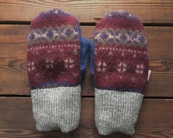 Felted Wool Mittens, Recycled from Sweaters, size Extra Small