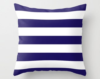 Stripes Pillow with insert - Striped Pillow - Nautical Navy Blue Stripes Pillow with insert - Modern Throw Pillow - Home Decor -