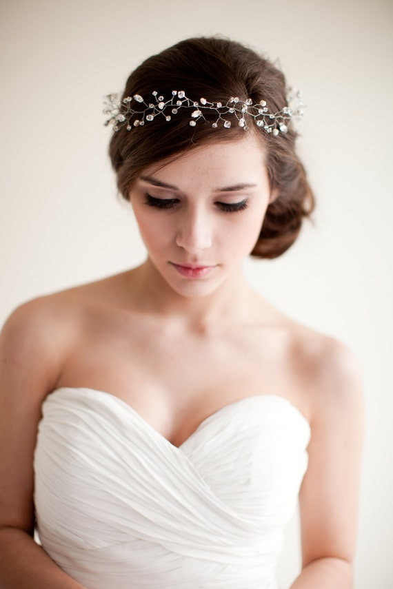 bridal crown wedding tiara hair wreath floral headband bridal