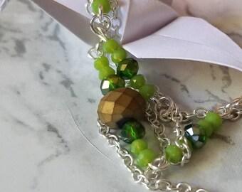 Green Earth ||| 30in Beaded Necklace ||| Pendant+Earrings