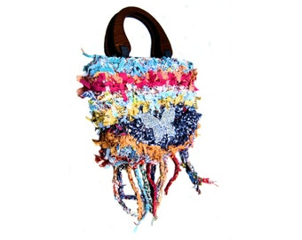 Hand made purse, boho bag, handbag, rag bag, shabby chic bag, fringed bag, purse,  tote, designer handbag, gift under 75