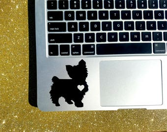 Custom Yorkie with Heart Decal, Choose your size and color, Yorkshire Terrier Decal, Macbook, Laptop, Tablet, Yeti, Cooler, Car Window