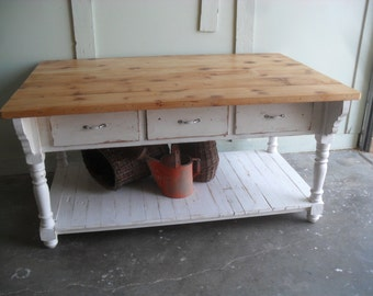Kitchen Island custom made from reclaimed wood, made in the USA chabby chic style