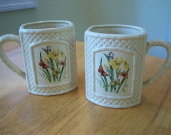 Pair of ceramic 1978 mugs/Butterfly and trellis pattern/Cream color mugs with butterflies/Cottage chic/Shabby chic