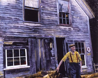 New England fine art / hand-painted photograph / Robin Quimby's workshop / Island woodworker / ferry boat captain / Islesboro, Maine / photo