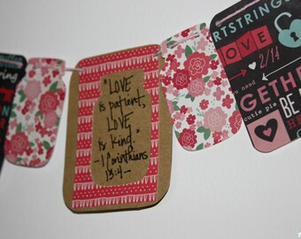 "Mini Scripture Bunting- ""Love is Patient, Love is Kind"" (I Corinthians 13:4)"