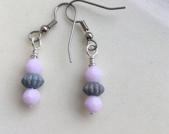 Pale Pink Earrings,  Pink and Blue Earrings, Rose Alabaster Swarovski Earrings