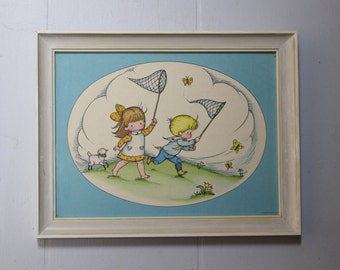 Vintage Framed Print of a Lamb Using Children to Catch Butterflies for It Because It Can't Hold a Net