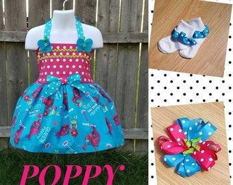 Poppy the Troll Twirl Dress, Poppy the Troll Dress, Poppy the Troll Birthday, Poppy Birthday, Troll Dress, Poppy Dress, Character Dress