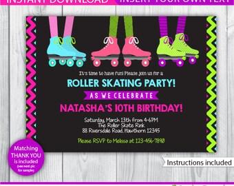 roller skating birthday party / roller skate invitation / roller skating invitation / roller skate invite / roller skating invite / INSTANT