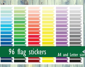 Printable flag stickers for planner, calendar or Bullet journal. 96 printable stickers. Instant download A4 and Letter size stickers.