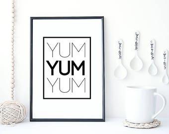 YUM YUM YUM  Typographic Kitchen Print