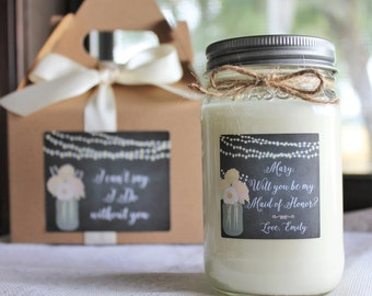 Will You Be My Bridesmaid Personalized Soy Candle//Large Pint//Personalized Bridesmaid Gift//Matron Of Honor Gift//Choose Your Scent//