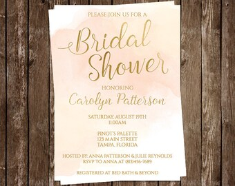 Bridal Shower Invitations, Pink, Blush, Coral, Watercolor, Wedding, Gold, 10 Printed Cards, FREE Shipping, Modern, Customized, Paint, Cloudy