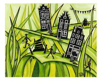 Thuis, waar het gras groen is #2 - Print van Originele illustratie - Afmeting papier A4 - Aquarel illustratie