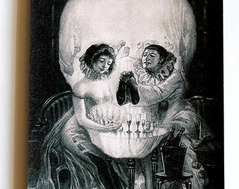 skull canvas print Optical Illusion Art, the style of Salvador Dali, love Piero, giclee 16.5X11.7
