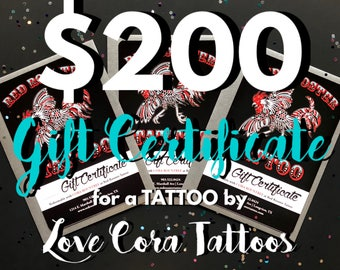 200 dollar certificat-cadeau tatouage par amour Cora tatouages