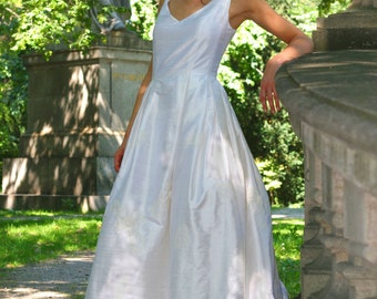 wedding dress with flowers embroidered