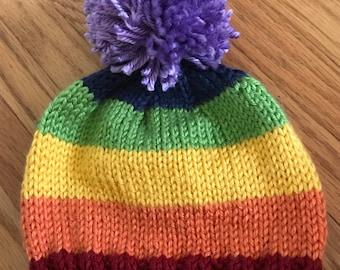 Child's Knit Rainbow Hat with Pom Pom